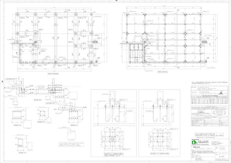 Plants technical drawings | De Luca Associati - Structural Engineering